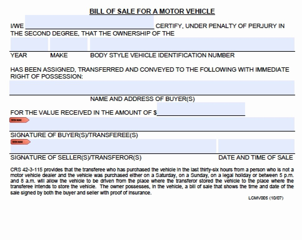 Automotive Bill Of Sale Colorado Fresh Free Colorado Boat Trailer Bill Of Sale form Pdf