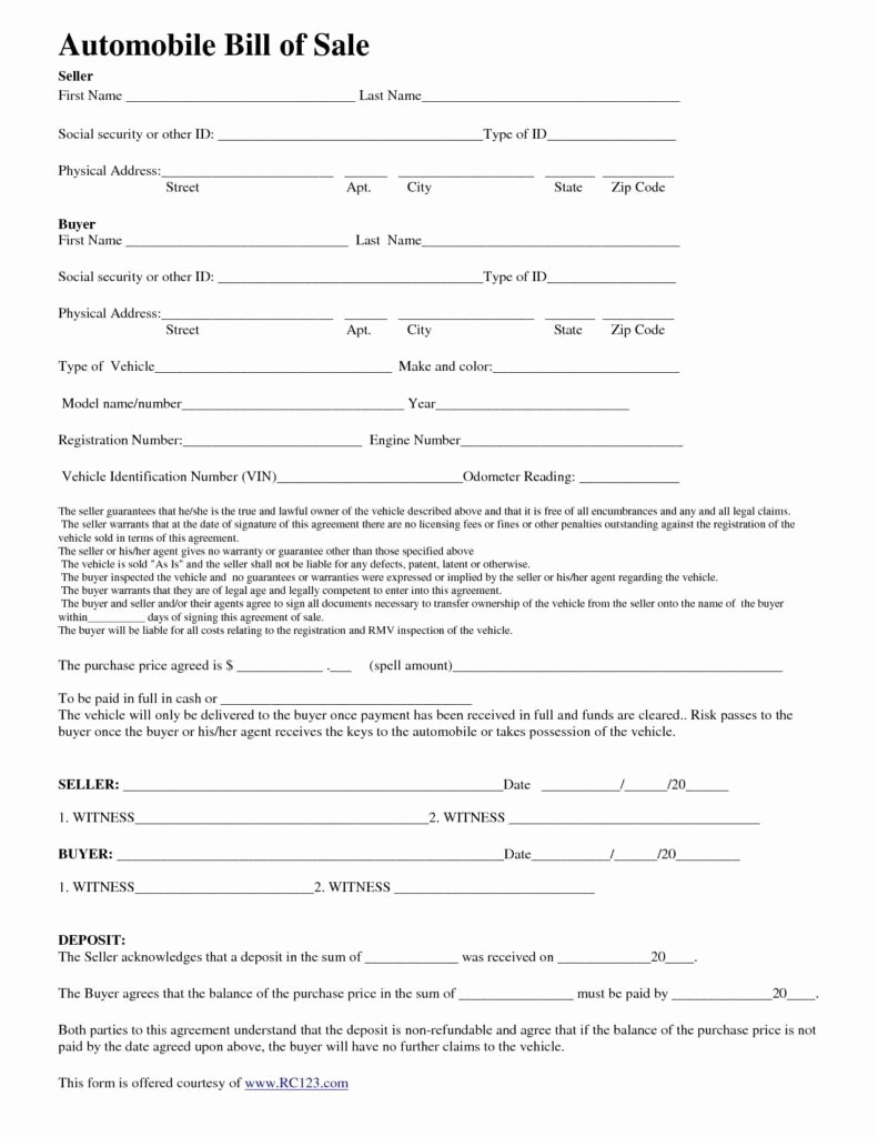 Automotive Bill Of Sale Colorado Luxury Bill Sale Template Colorado Invoice