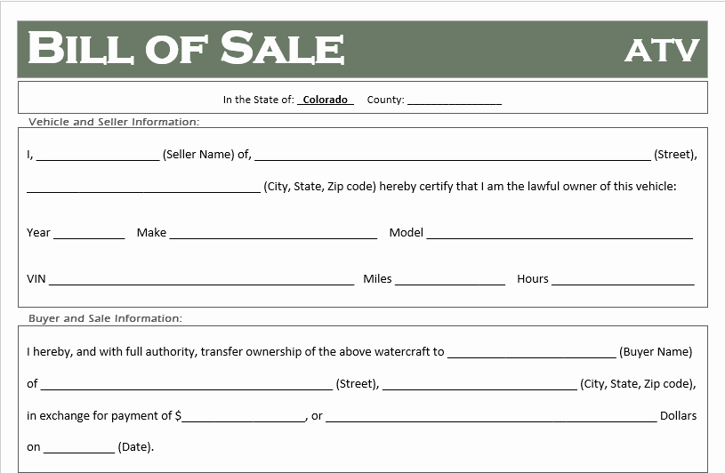 Automotive Bill Of Sale Colorado Unique Free Colorado atv Dirt Bike and Utv Bill Of Sale Template