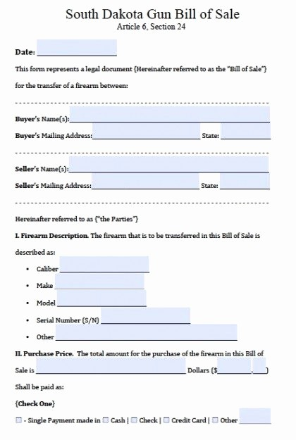 Automotive Bill Of Sale Florida Awesome Free south Dakota Firearm Gun Bill Of Sale form