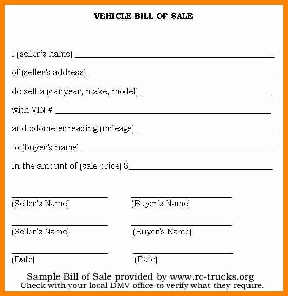 Automotive Bill Of Sale Florida Beautiful Bill Of Sale form Template Vehicle [printable]