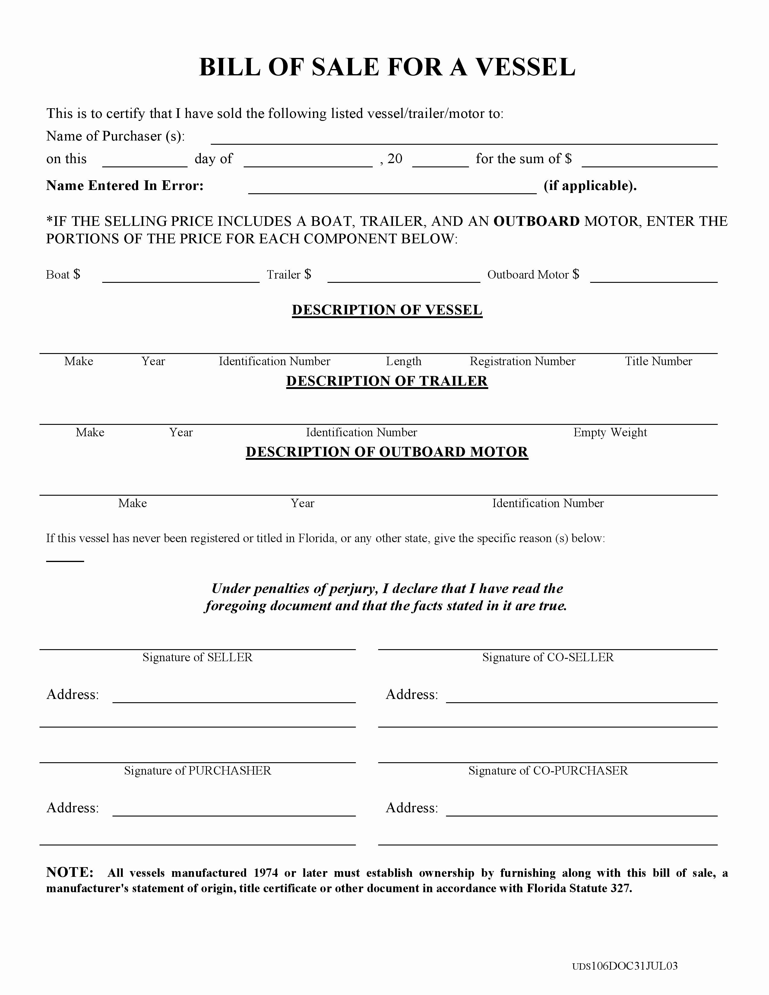 Automotive Bill Of Sale Florida Luxury Free Florida Boat Bill Of Sale form Pdf