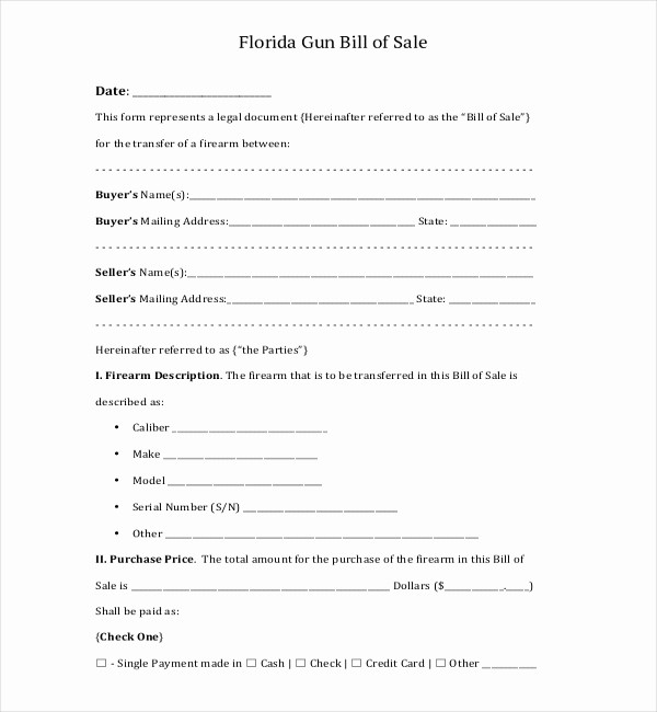 Automotive Bill Of Sale Florida New 10 Sample Bill Of Sale for Firearms