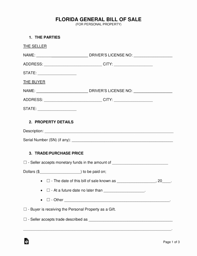 Automotive Bill Of Sale Florida New Free Florida General Bill Of Sale form Word