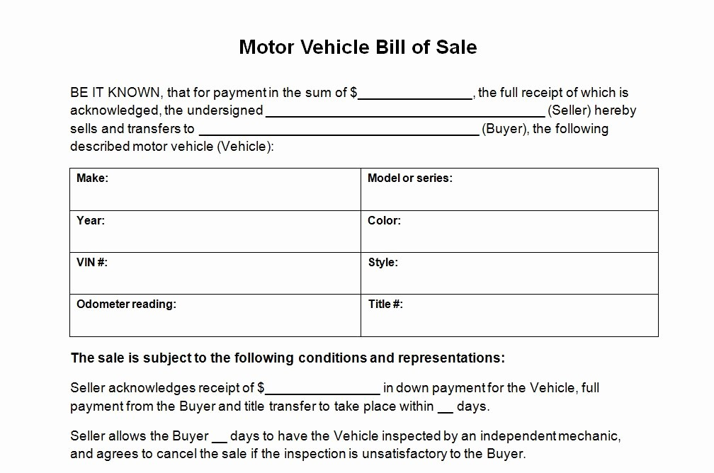 Automotive Bill Of Sale Florida Unique Motor Vehicle Bill Of Sale Template