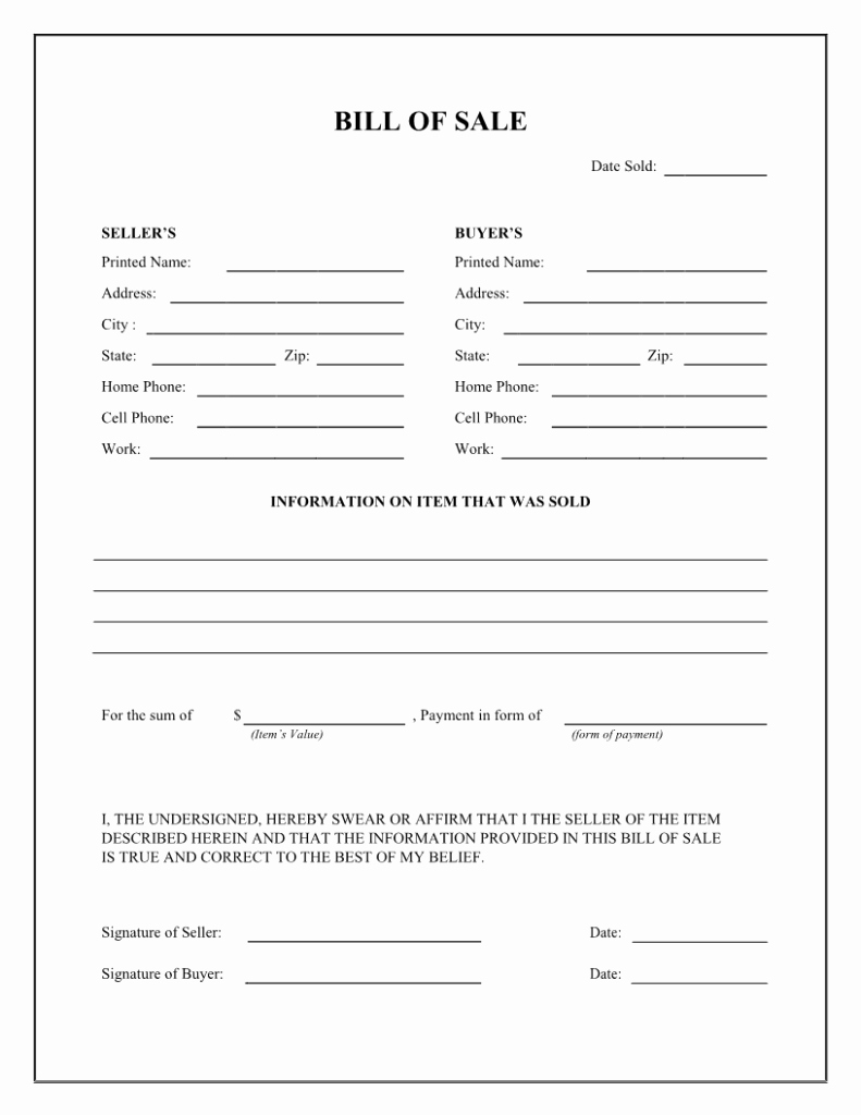 Automotive Bill Of Sale Printable Lovely Printable Bill Of Sale Templates