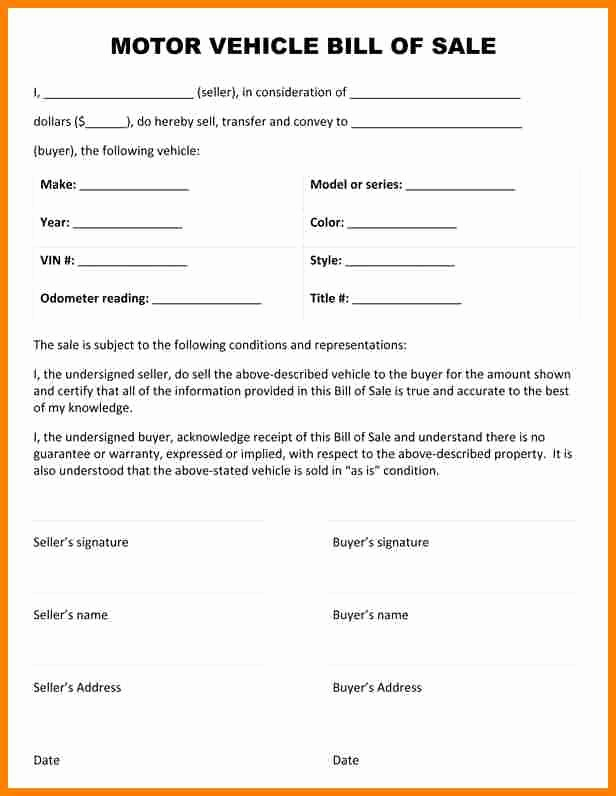 Automotive Bill Of Sale Printable New 7 Printable Bill Of Sale for Used Car