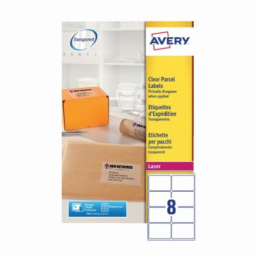 Avery 10 Per Page Labels Fresh Avery Clear Laser Label 99 1 X 67 7mm 8 Per Sheet Pack Of
