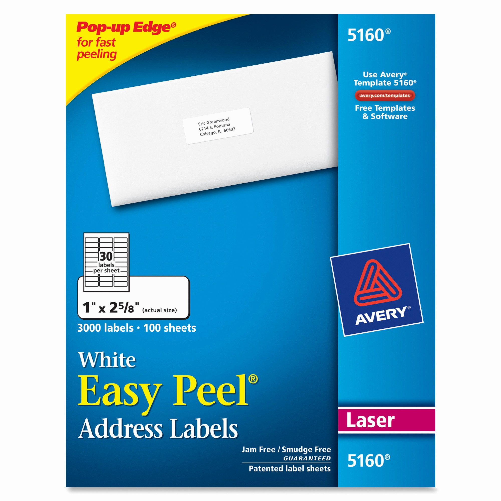 Avery 30 Per Sheet Labels Beautiful Avery 5160 Easy Peel White Laser Mailing Labels Permanent
