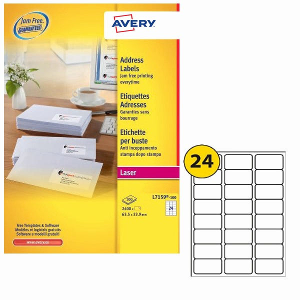 Avery 30 Per Sheet Labels Fresh Avery Address Laser Labels 24 Labels Per Sheet 100 Sheets