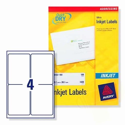 Avery 30 Per Sheet Labels Luxury J8169 Avery Inkjet Labels 4 Per Sheet
