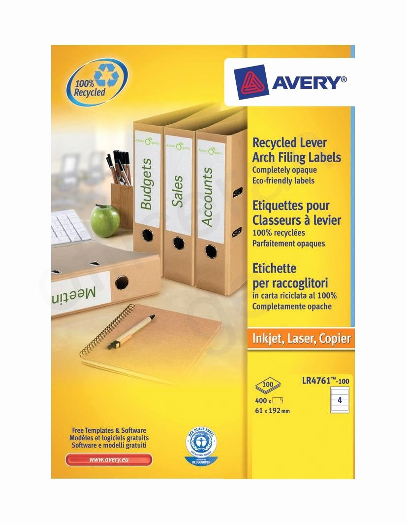 Avery 4 Labels Per Page Beautiful Avery Filing Label Recycled 4 Per Sheet 192x61mm Ref