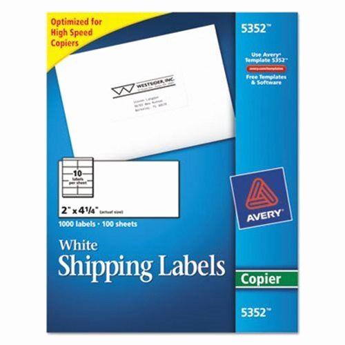 Avery 4 Labels Per Page Beautiful Avery Self Adhesive Shipping Labels for Copiers White