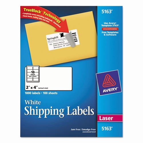 "Avery 4 Labels Per Page Inspirational 1000 Avery Shipping Labels Laser 2"" X 4"" White"