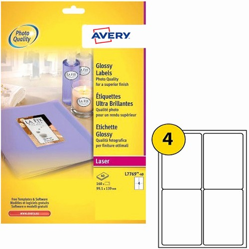 Avery 4 Labels Per Page Inspirational Avery L7769 40 Address Labels Colour 4 Per Sheet 139 X 99