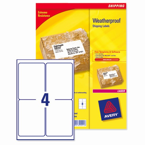 Avery 4 Labels Per Page Inspirational Avery Weatherproof Shipping Labels Laser 4 Per Sheet 99