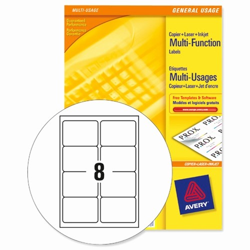 Avery 4 Labels Per Page Lovely Avery 3427 Multi Function Labels 8 Per Sheet White 800