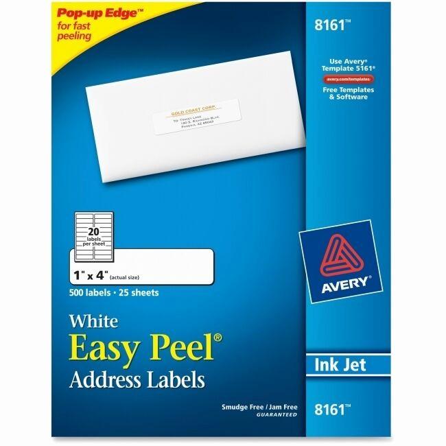 Avery 4 Labels Per Page Luxury Avery Easy Peel Inkjet Address Labels 1 X 4 White 500