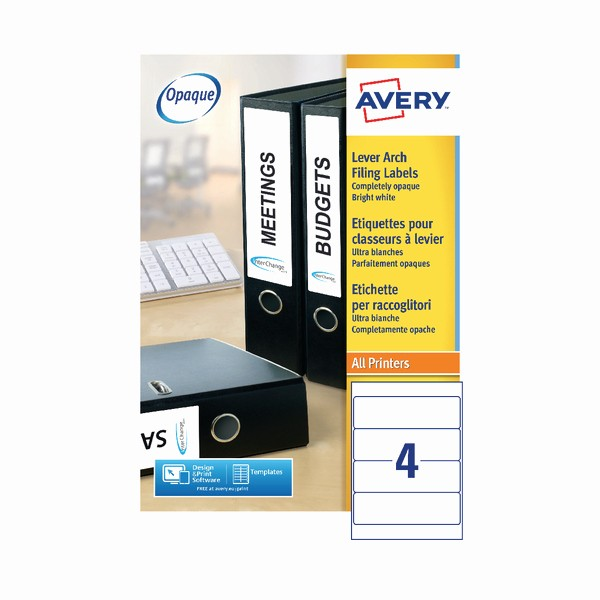 Avery 4 Labels Per Page Luxury Avery Laser Labels 4 Labels Sheet 200x60mm White Box Of