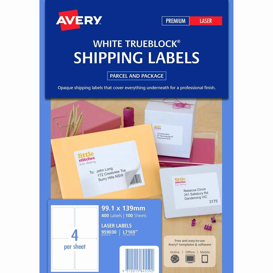 Avery 4 Labels Per Page Luxury Avery Laser Labels L7169 4 Sheet