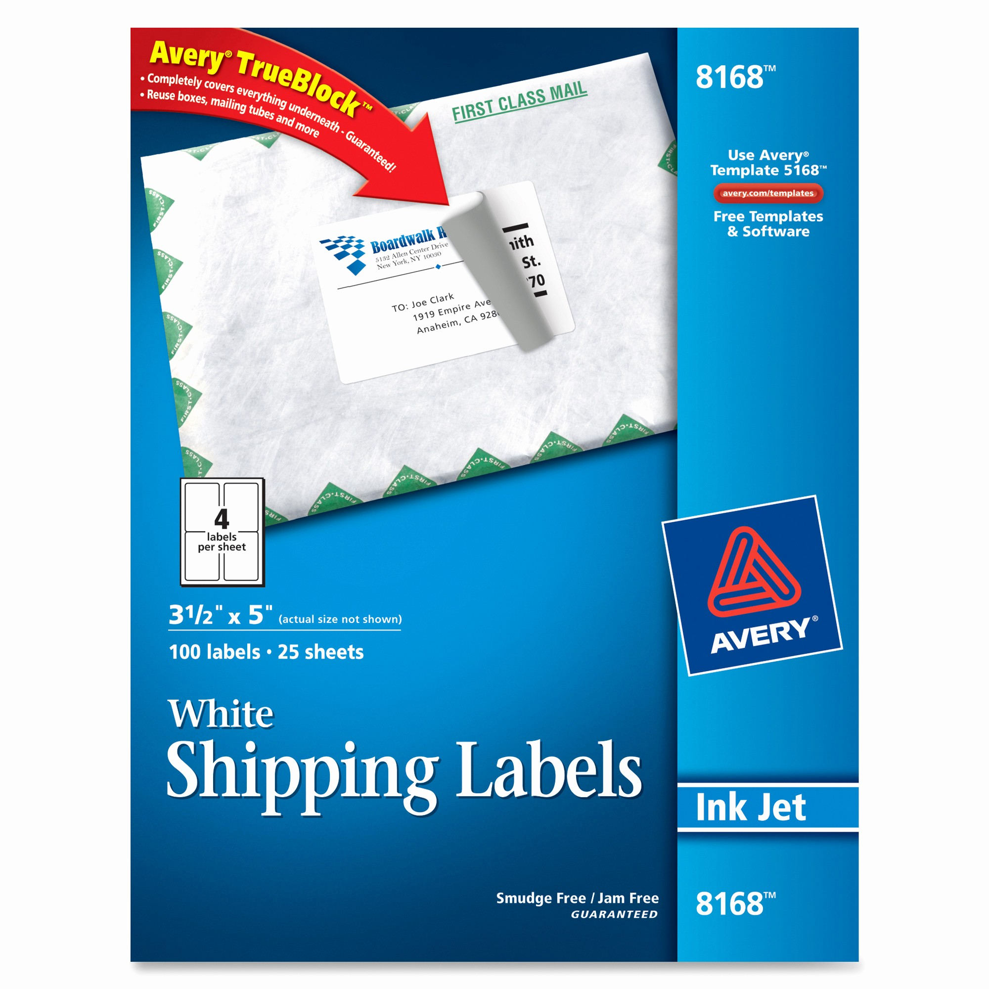 Avery 4 Labels Per Page New Avery 8168 White Inkjet Shipping Labels Permanent Adhesive