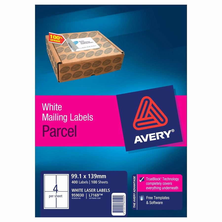 Avery 4 Labels Per Page New Avery Laser Labels L7169 4 Sheet