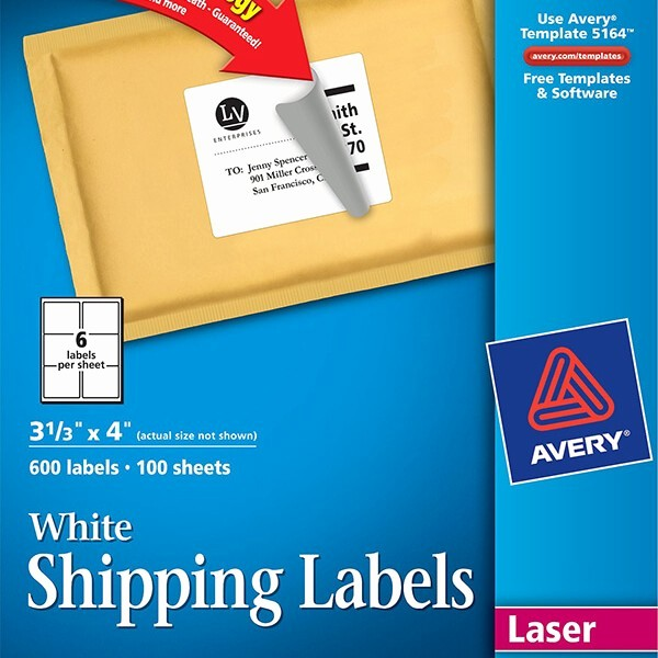 Avery 5164 Shipping Label Template Lovely Avery White Shipping Labels with Trueblock Technology