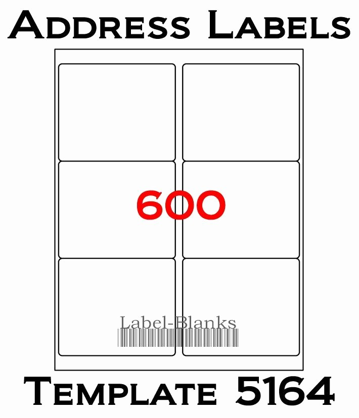 Avery 5164 Shipping Label Template New 4 X3 1 3 Laser Ink Jet Labels 600 Labels Patible W