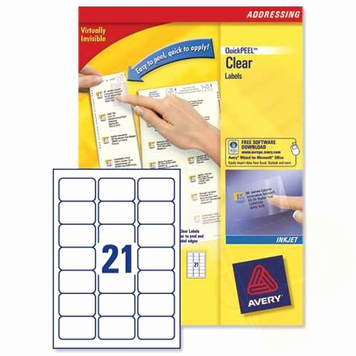 Avery 8 Labels Per Sheet Fresh J8560 Clear Avery Inkjet Labels 21 Per Sheet 25 Sheets