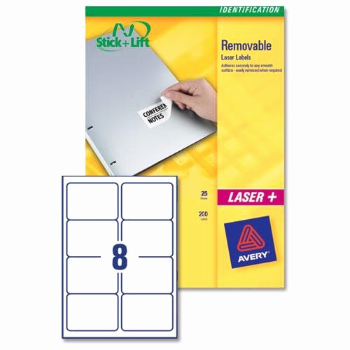 Avery 8 Labels Per Sheet Inspirational Avery L4745 Removable Laser Labels 8 Per Sheet 96x63 5mm