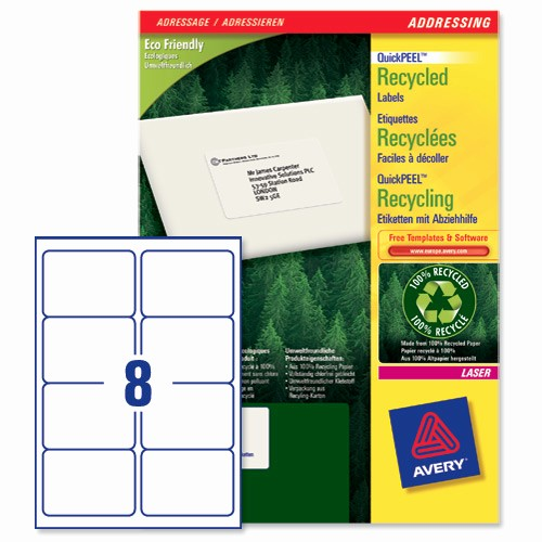 Avery 8 Labels Per Sheet Inspirational Avery Lr7165 Quickpeel Recycled Addressing Labels White