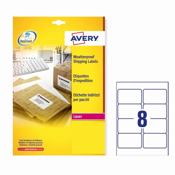 Avery 8 Labels Per Sheet Unique Avery Weatherproof Shipping Labels 99 1x67 7mm L7993 25