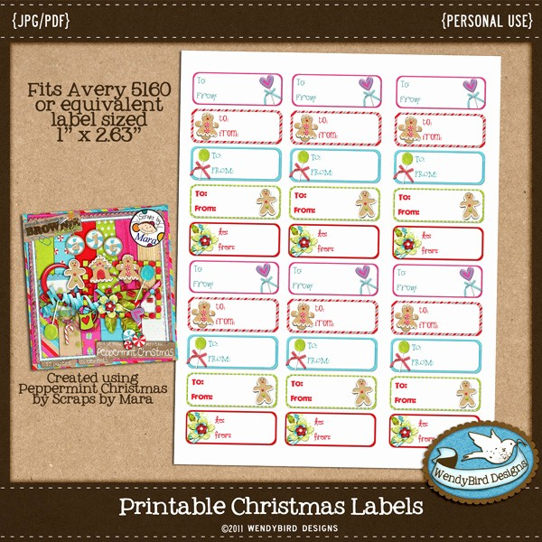 Avery 8160 Christmas Gift Labels Luxury Wendybird Designs Day 2 Of Christmas Freebies