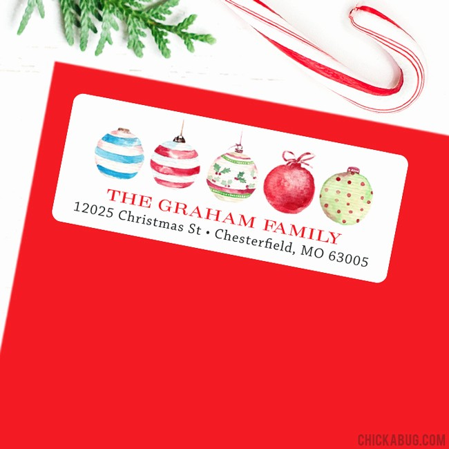 Avery 8160 Christmas Gift Labels New Christmas Address Labels Watercolor Christmas Balls