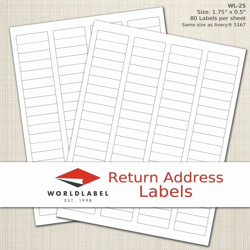 "Avery 8167 Template for Word Luxury Laser Labels 1 75 X 0 5"" Return Address Labels"