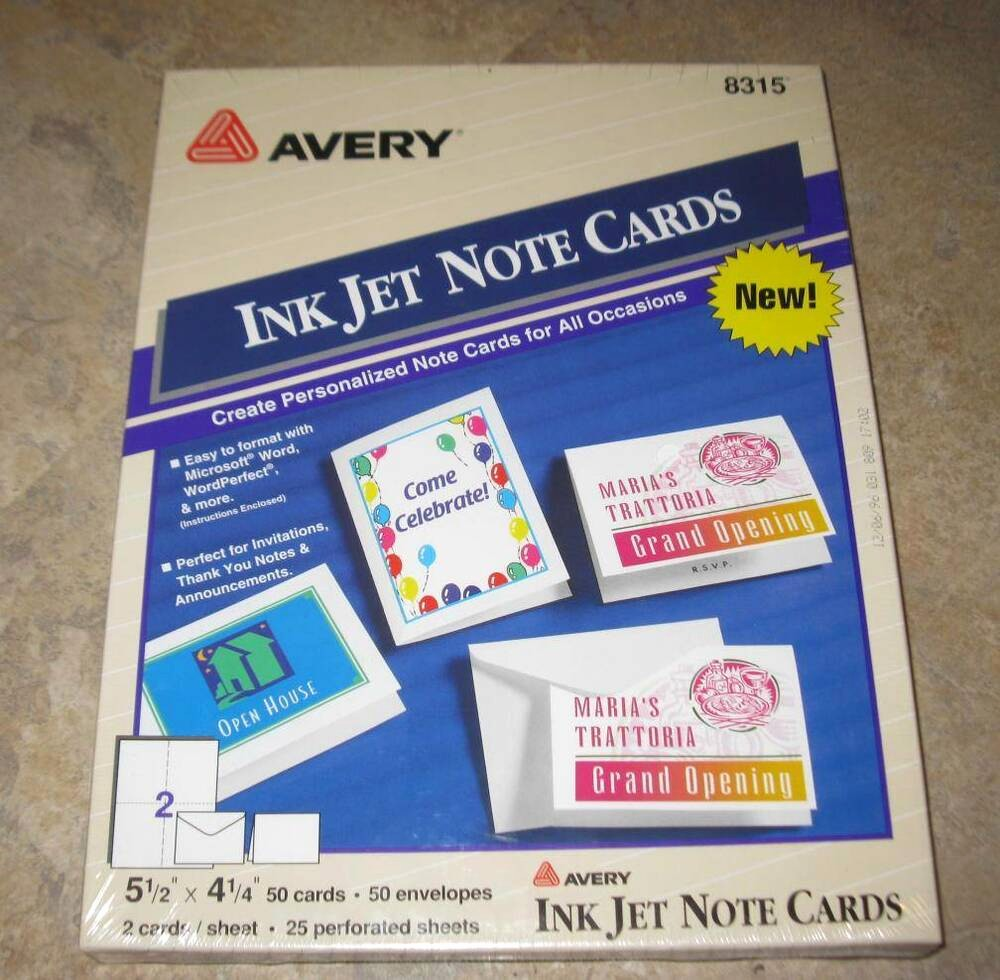 Avery 8315 Note Cards Template Luxury New Avery 8315 Printer Patible Cards Ave8315 50