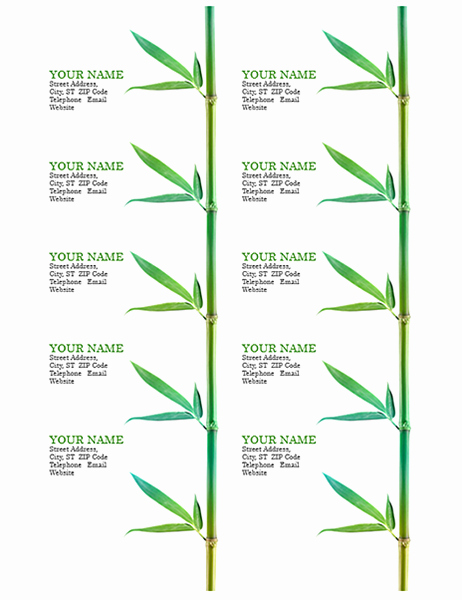 Avery Business Card Template 28878 Fresh Business Cards Bamboo 10 Per Page Works with Avery 5371