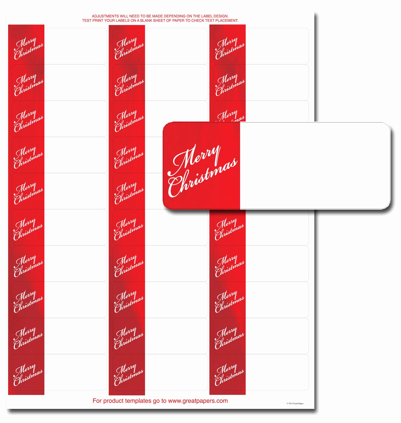 Avery Christmas Label Templates 5160 Luxury Merry Christmas Address Labels Holiday Address Labels