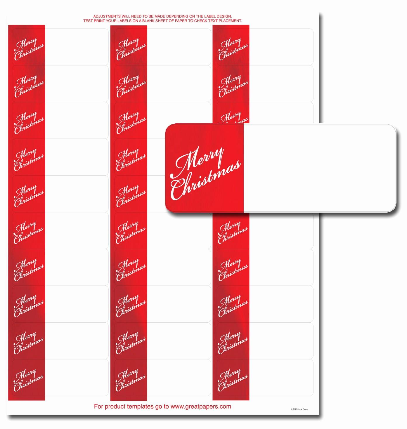Avery Christmas Label Templates 5160 Luxury Merry Christmas Address Labels Holiday Address Labels