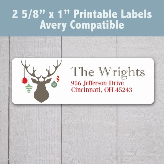 Avery Holiday Return Address Labels New Items Similar to Printable Christmas Address Labels Deer