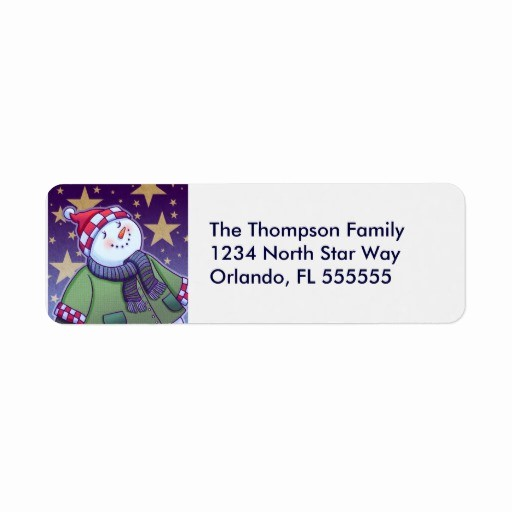 Avery Holiday Return Address Labels New Personalized Holiday Snowman Return Address Labels