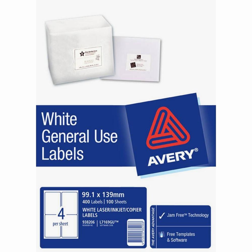 Avery Label 10 Per Page Elegant Avery General Use Labels White 4 Up 100 Sheet