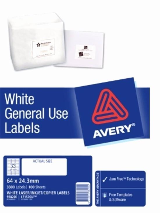Avery Label 10 Per Page Inspirational Avery L7157gu Dl33 Label 64mm X 24 3mm 33 Per Sheet 100