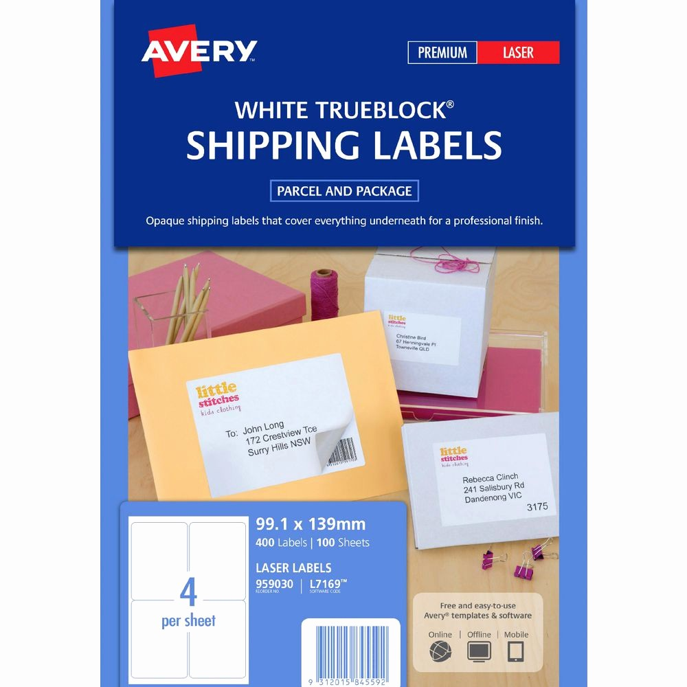 Avery Label 10 Per Page Lovely Avery Laser Shipping Labels White 100 Sheets 4 Per Page
