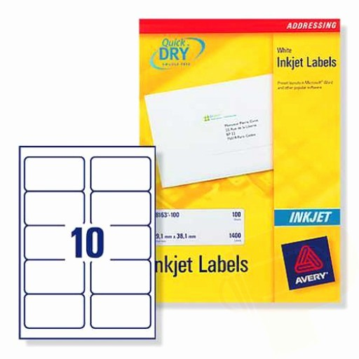 Avery Label 30 Per Sheet New J8173 Avery Inkjet Labels 10 Per Sheet