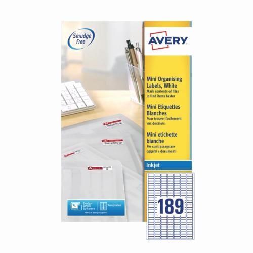 Avery Label 4 Per Page Fresh Avery Mini White Inkjet Label 25 4 X 10mm 189 Per Sheet