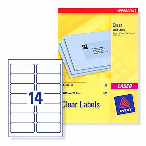Avery Label 4 Per Page Lovely Avery L7563 25 Clear Address Labels Laser 14 Per Sheet 99