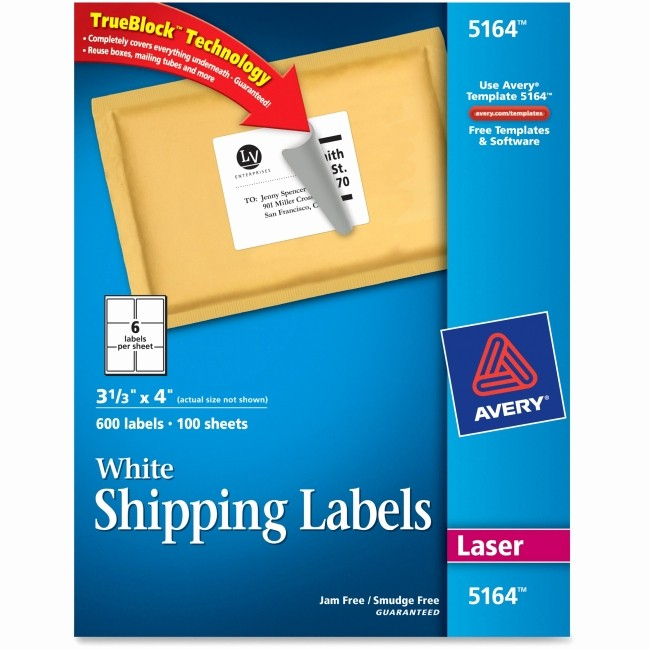Avery Label 4 Per Page Luxury Avery 5164 Easy Peel White Shipping Labels Permanent