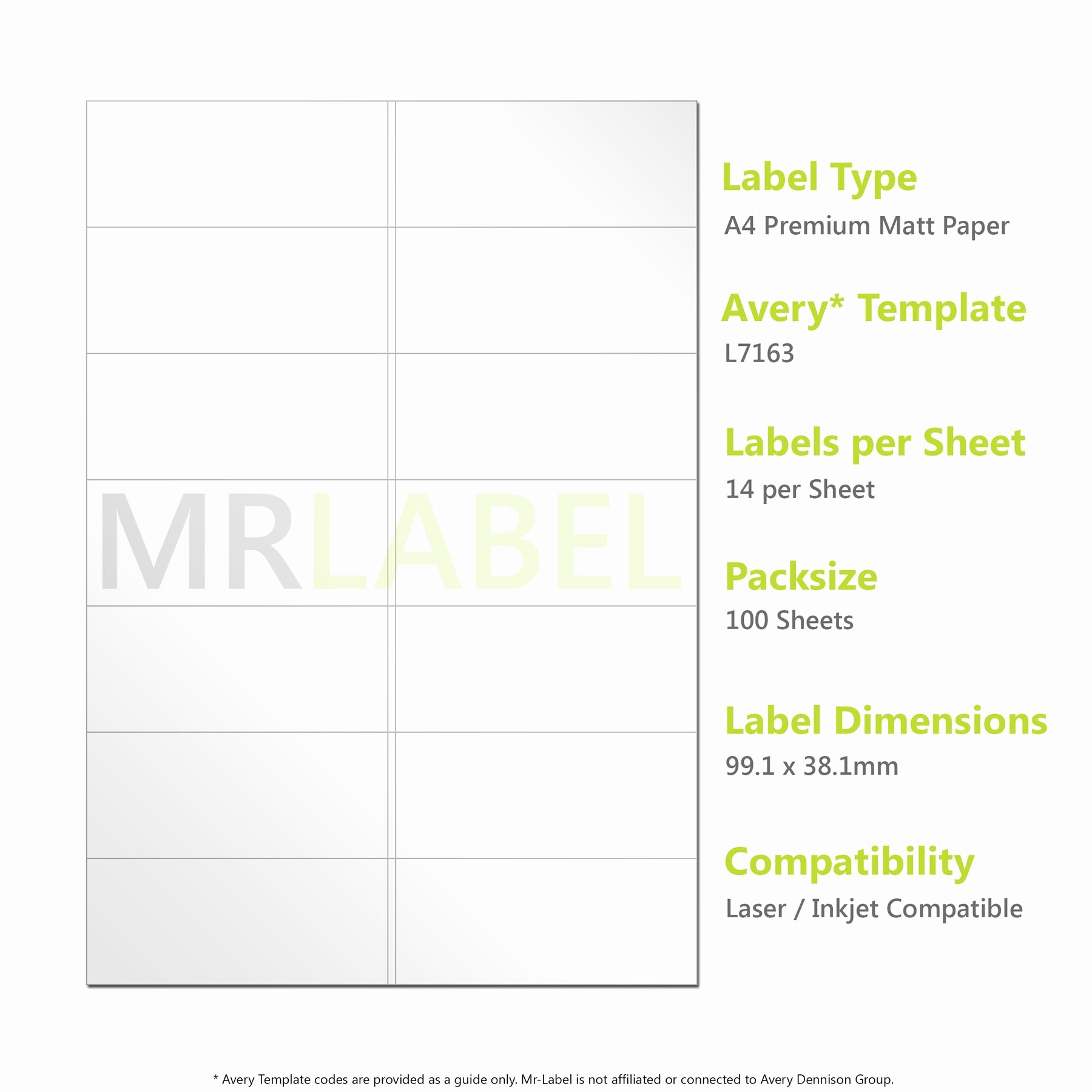 Avery Label 6 Per Page Elegant Avery Patible A4 Self Adhesive Labels L7163 J8163 14