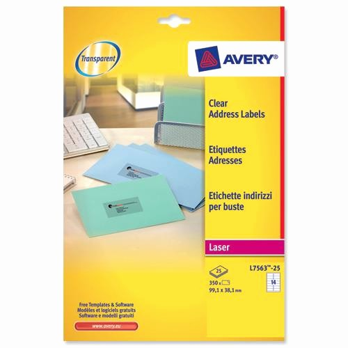 Avery Label 6 Per Page Inspirational Avery L7563 Clear Laser Printer Labels 99 1x38 1mm 14